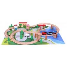 Medinė traukinių trasa Eko Žaislas 100 elementų