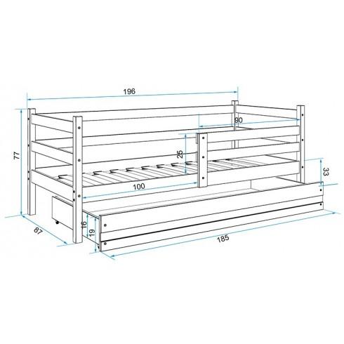 Bērnu gulta ERYK 190*80 ar kasti