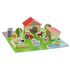VIGA Drewniana Farma Dla Zwierząt Zagroda 3D