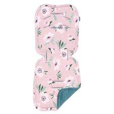 Čiužinys vežimėliui Velvet PREMIUM Gėlės rožinė /nepalo žalia